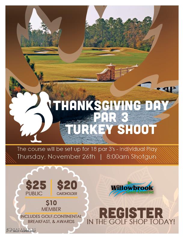 THANKSGIVING DAY PAR 3 TURKEY SHOOT WINTER HAVEN FL WILLOWBROOK 33881