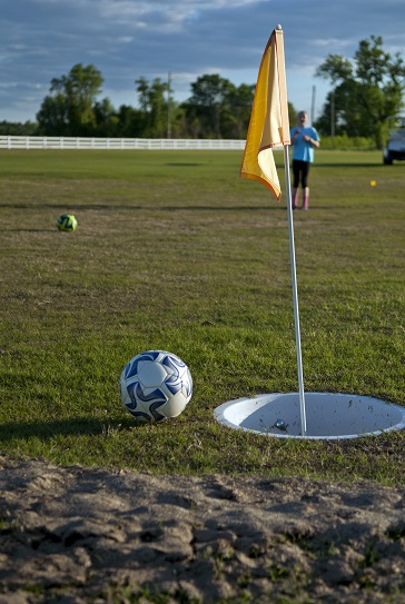 Footgolf tee at bradford creek