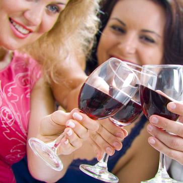 women cheering wine