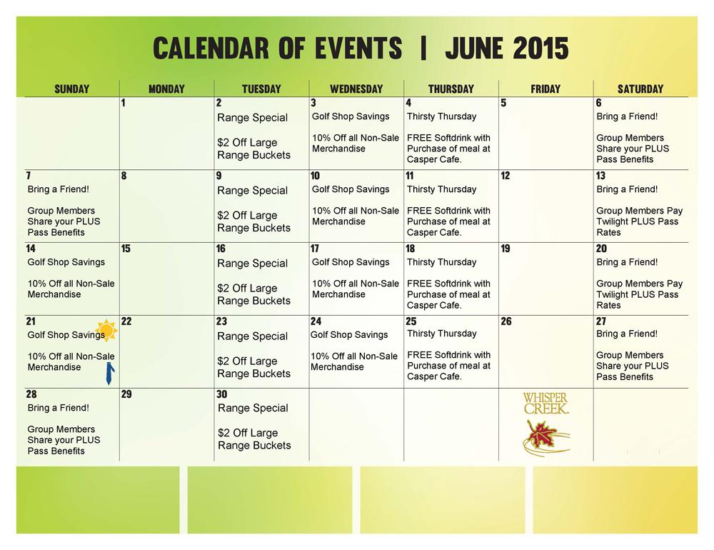 Whisper Creek Golf Club Plus Pass Calendar