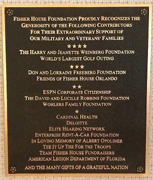 Orlando Fisher House Plaque