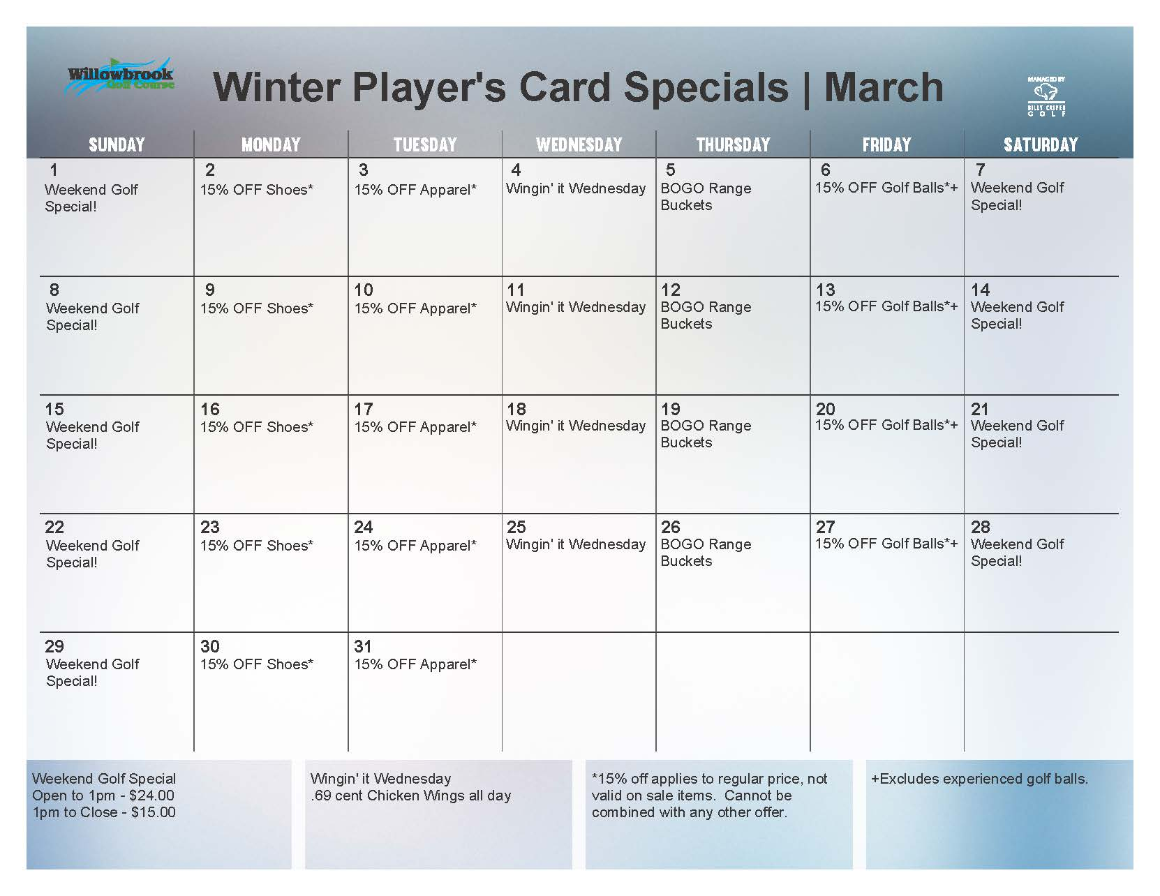 2015 March Loyalty Calendar