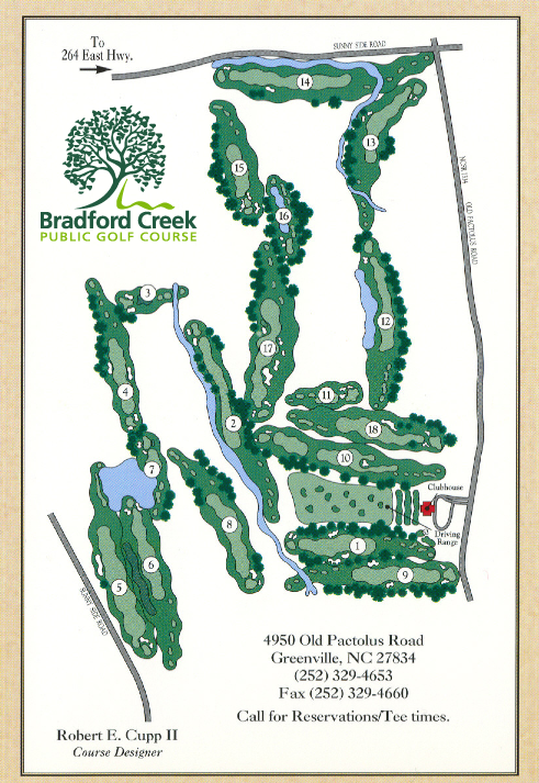 Bradford Creek Golf Course map