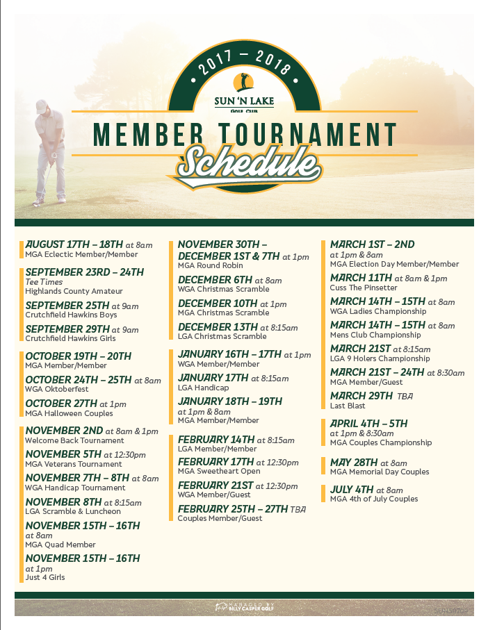 2017-2018 Member Tournament Schedule