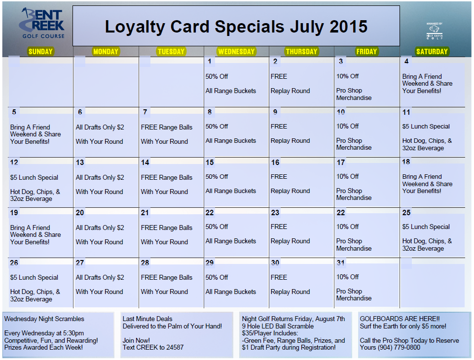 July Loyalty Calendar Bent Creek