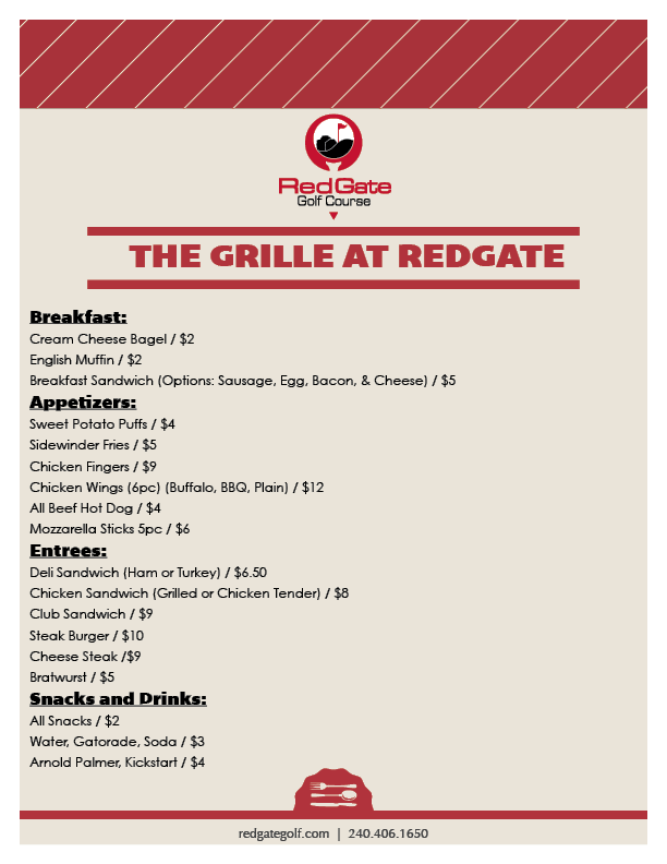 RedGate The Grille Menu