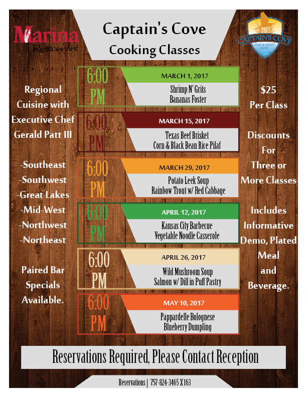 Learn to cook with a cooking class at Captains Cove golf and yacht club