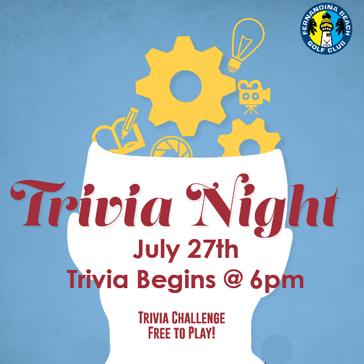 Trivia Night July 27 at Fernandina Beach Golf Club