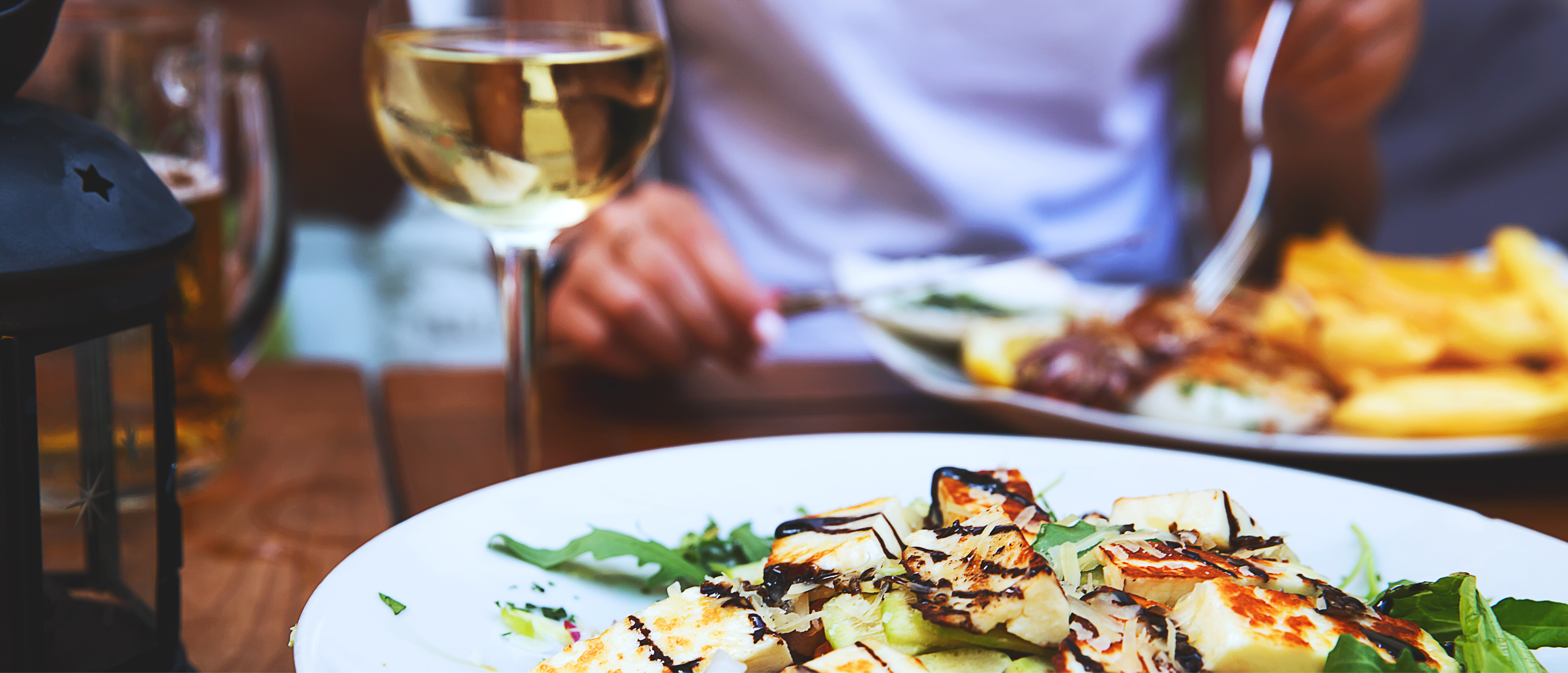 Bar and Grill - chicken salad and wine