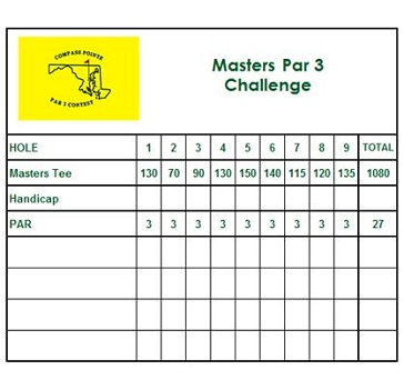 Masters Scorecard Par 3 - Compass Pointe Golf