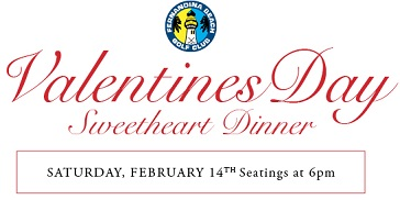 Valentines Day web banner for event at Fernandina Beach Golf Florida