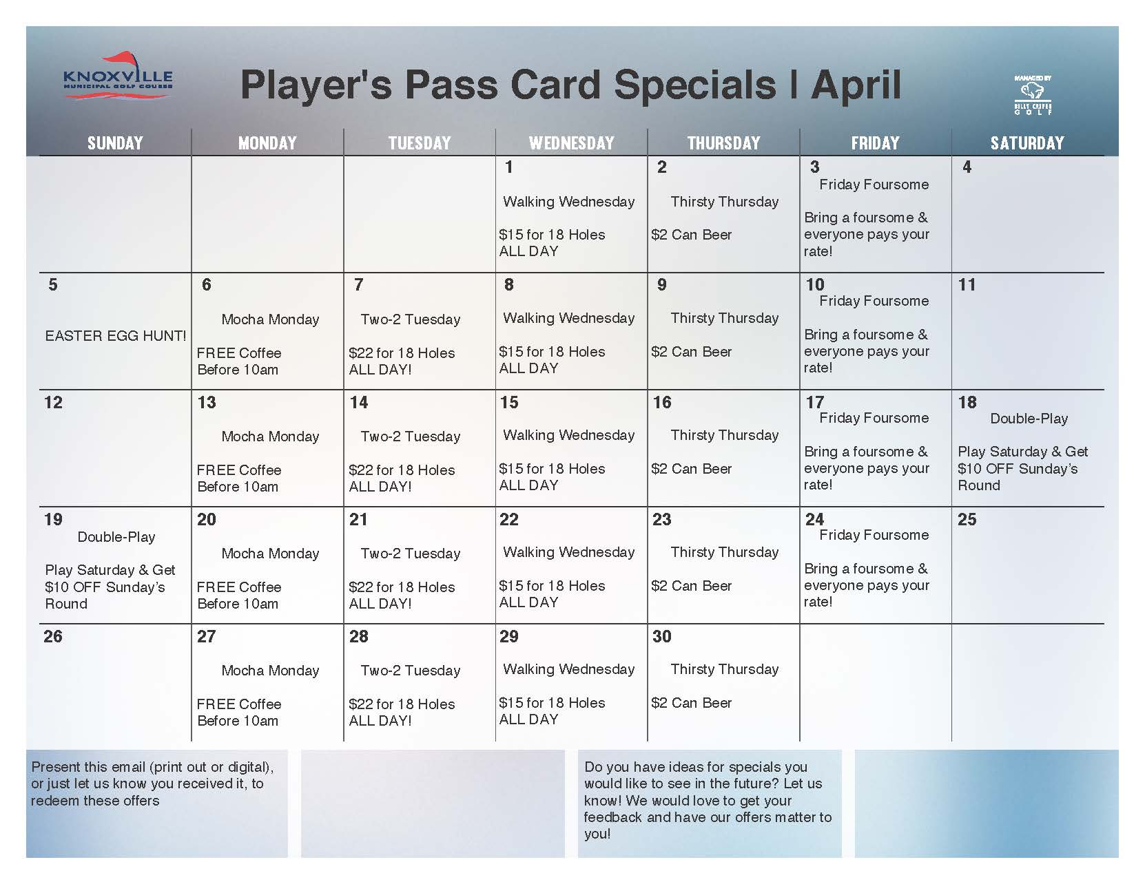 2015 April Loyalty Calendar Knoxville Golf
