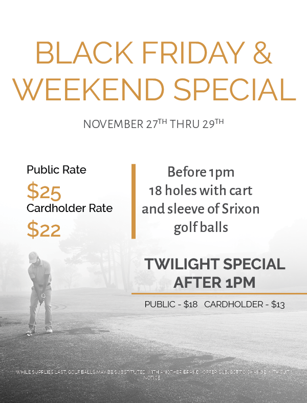 BLACK FRIDAY GOLF SPECIAL WILLOWBROOK GOLF COURSE WINTER HAVEN FL 33881