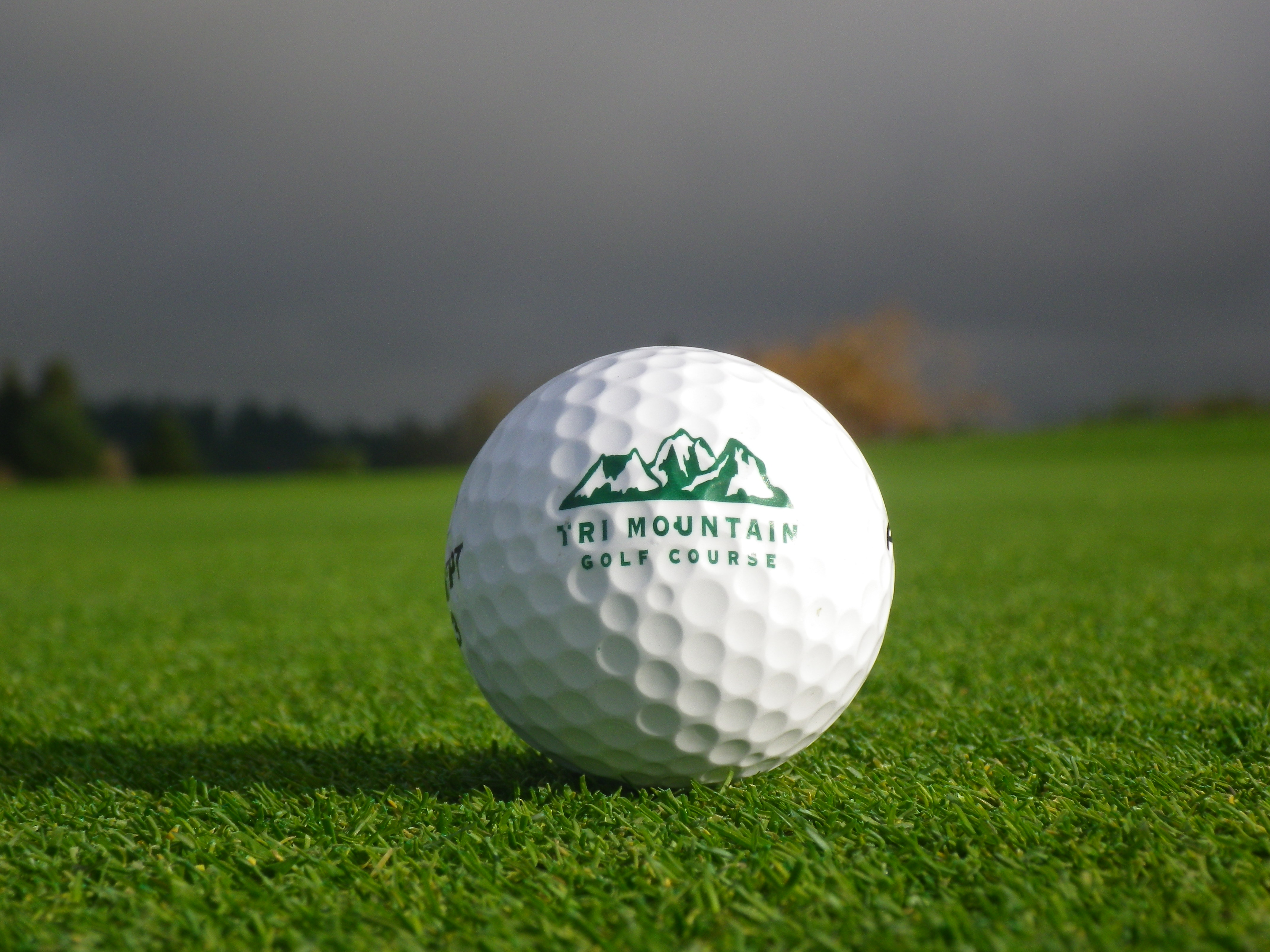 Tri Mountain Logo Golf Ball on Green