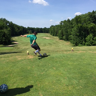 Combining soccer and golf into a new sport - come play a round of FootGolf at our golf course!