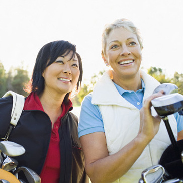 two ladies on golf course