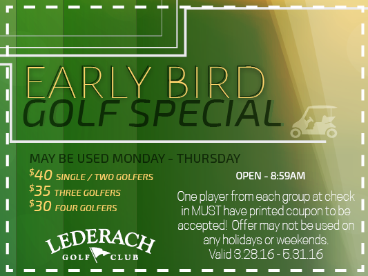 lederach early bird coupon
