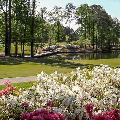 Cypress Landing Golf Club 18th hole Azaleas