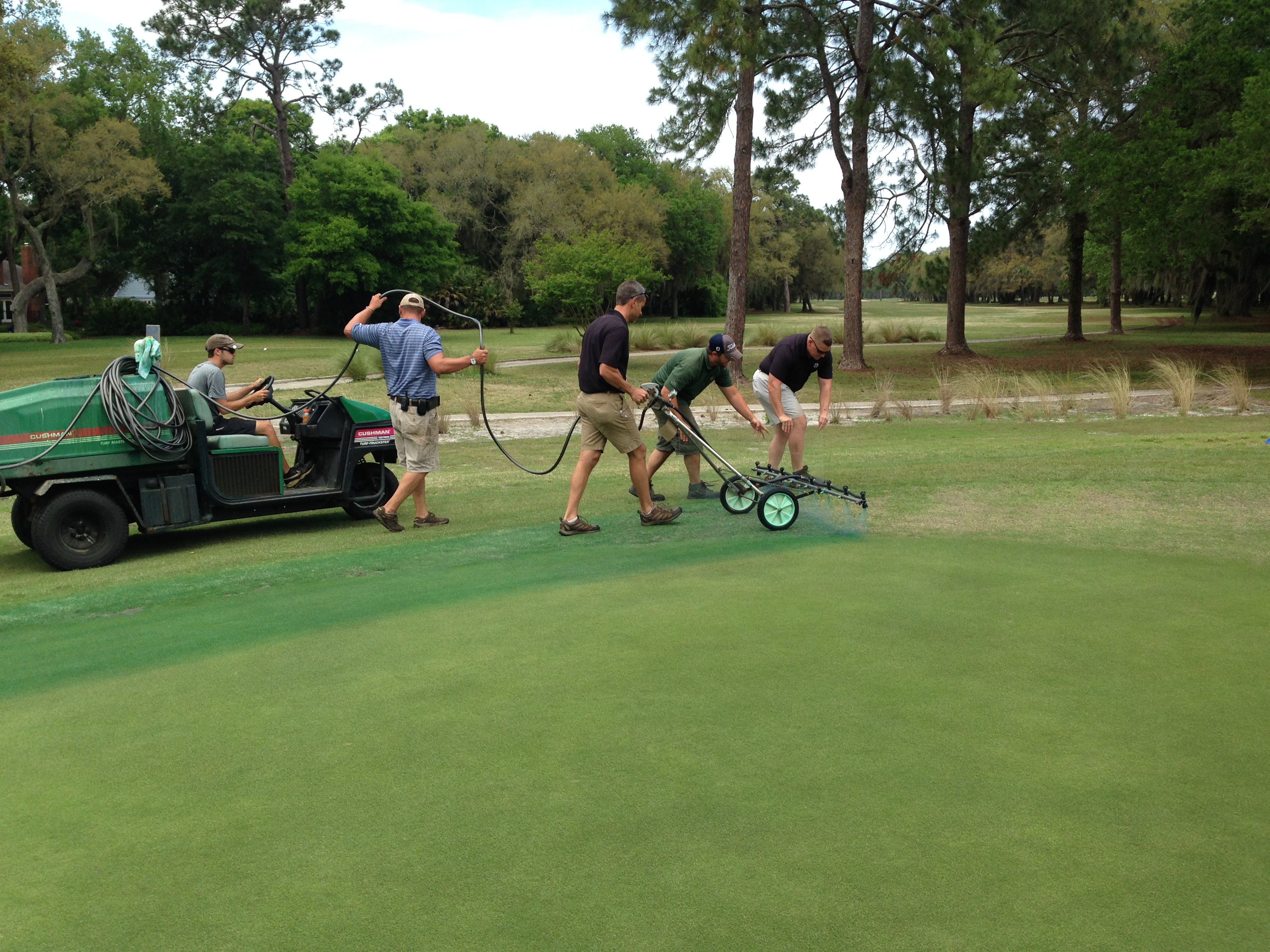 Golf Course Superintendent spraying round up on West Course at Fernandina Beach Golf Club