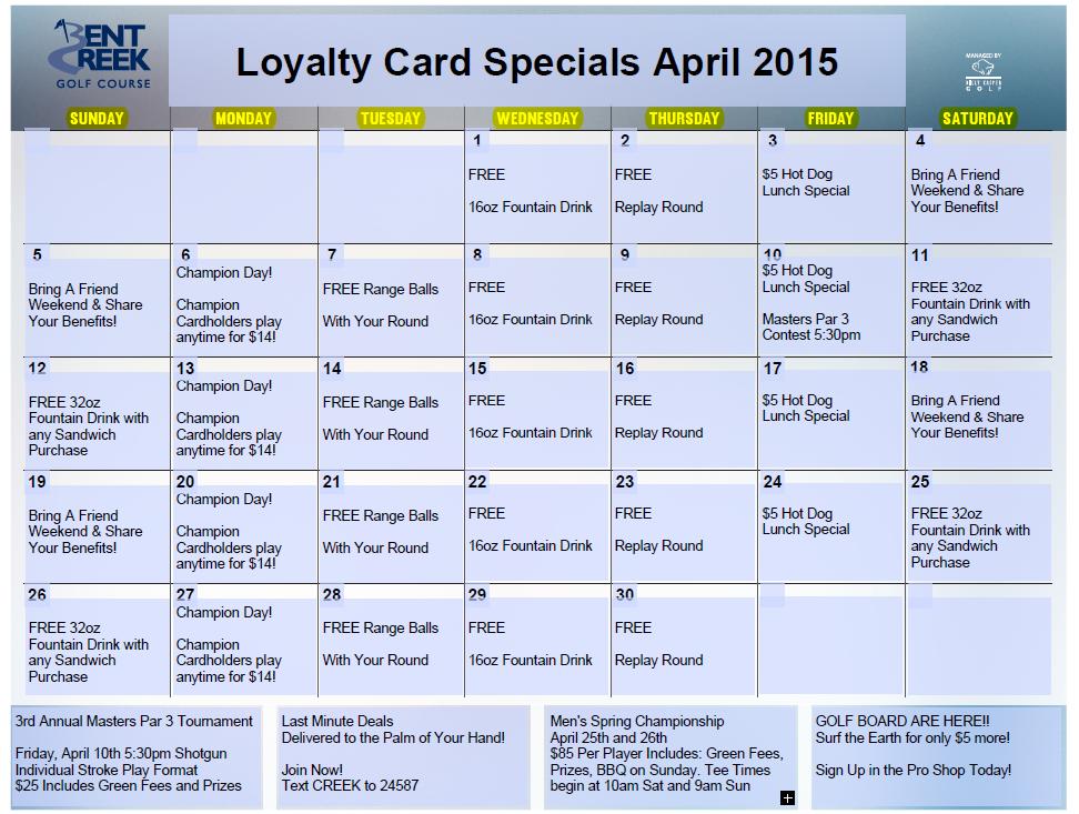 April Loyalty Calendar