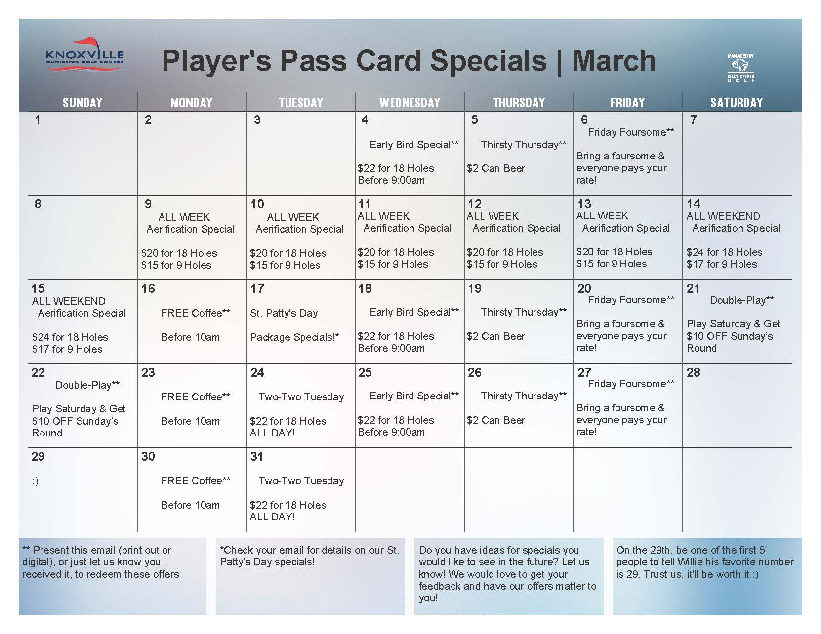 2015 March Loyalty Calendar Knoxville Golf
