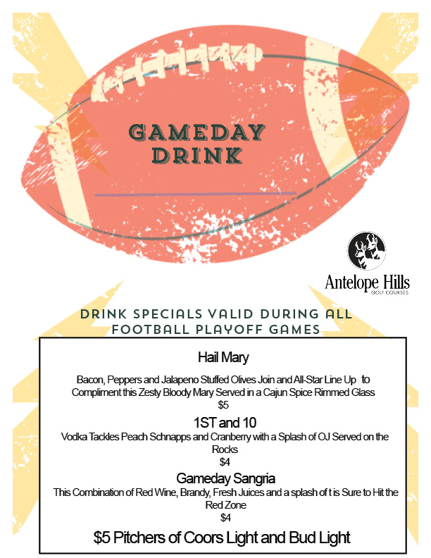 Wild Card Weekend Drink Specials