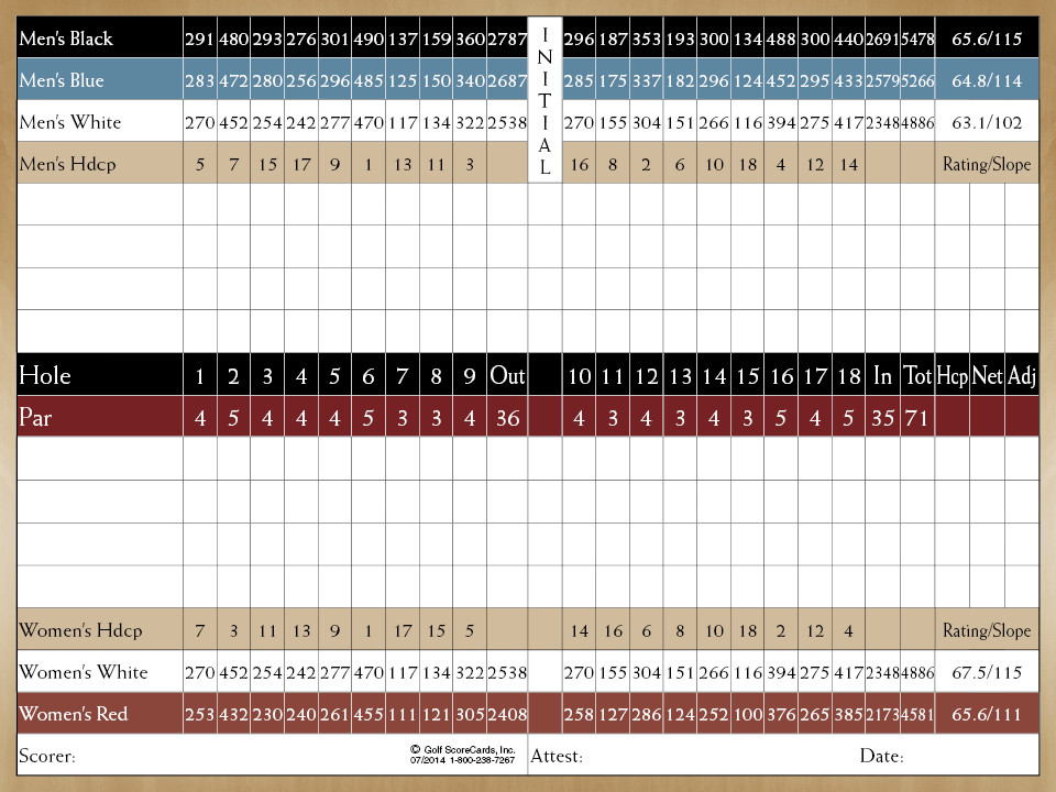 Scorecard - Alhambra Golf Course
