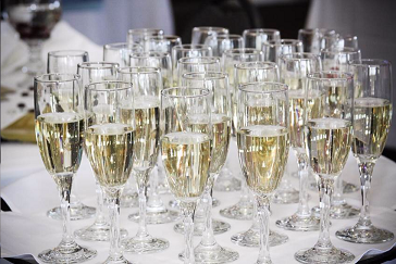 Champagne Glasses at Golf Wedding or Event