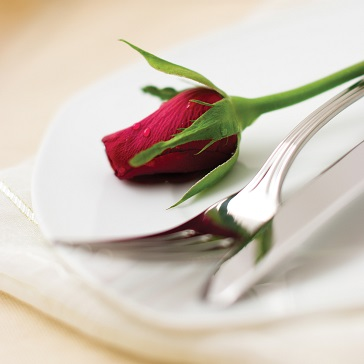 Rose, Fork, Knife, Romantic Valentines Dinner, dining, food