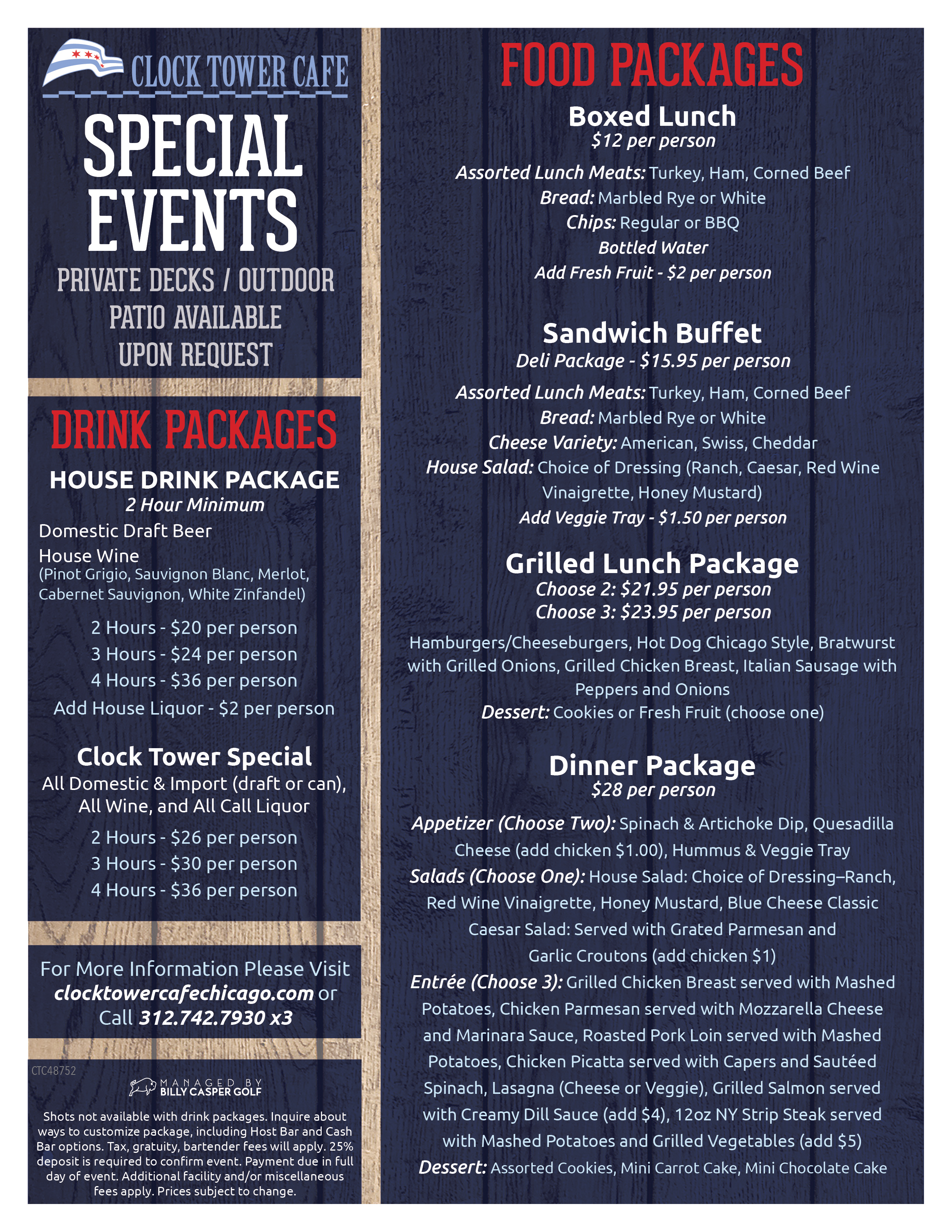 Clock Tower Cafe Banquet Packages