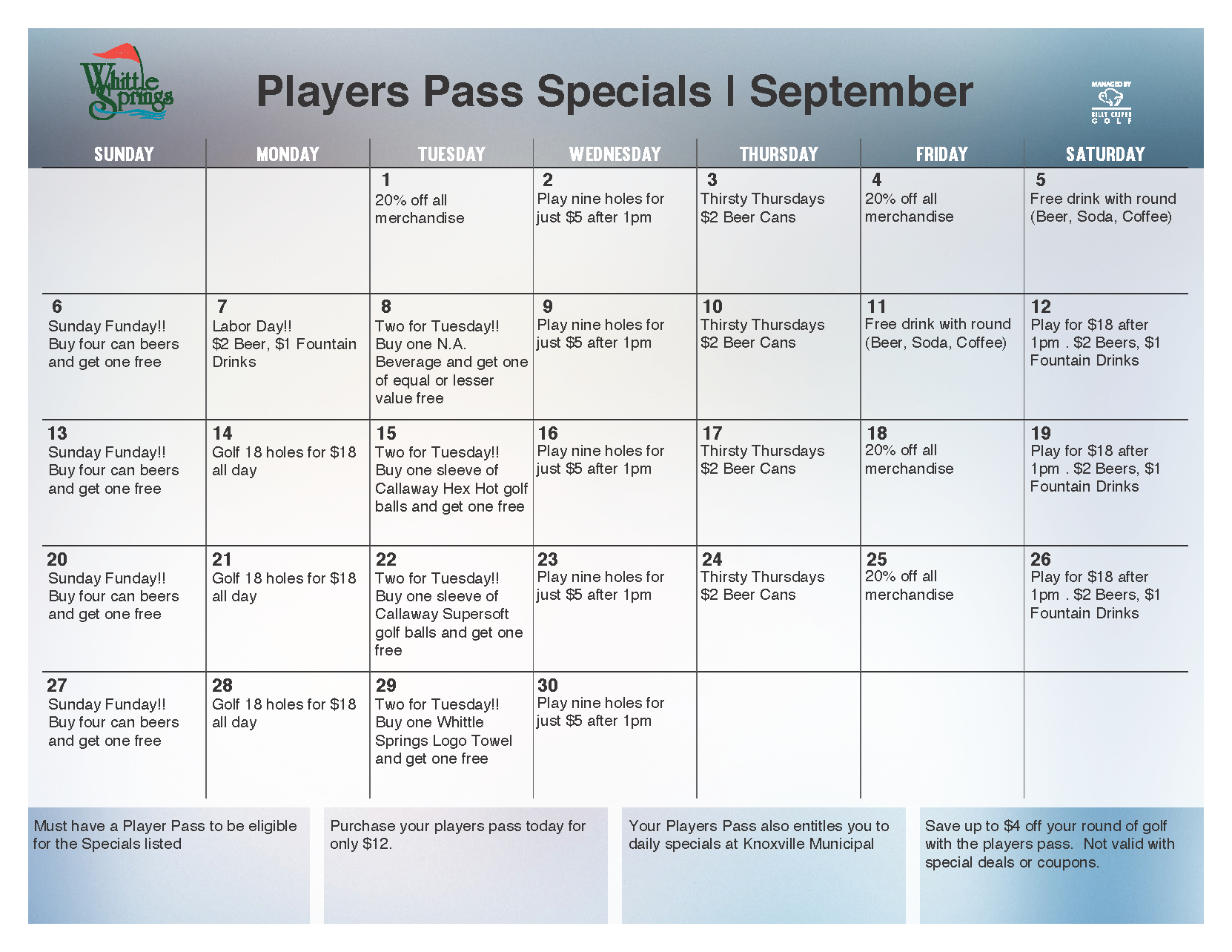 September Player's Pass cardholder golf specials at Whittle Springs Golf Club in Knoxville, TN