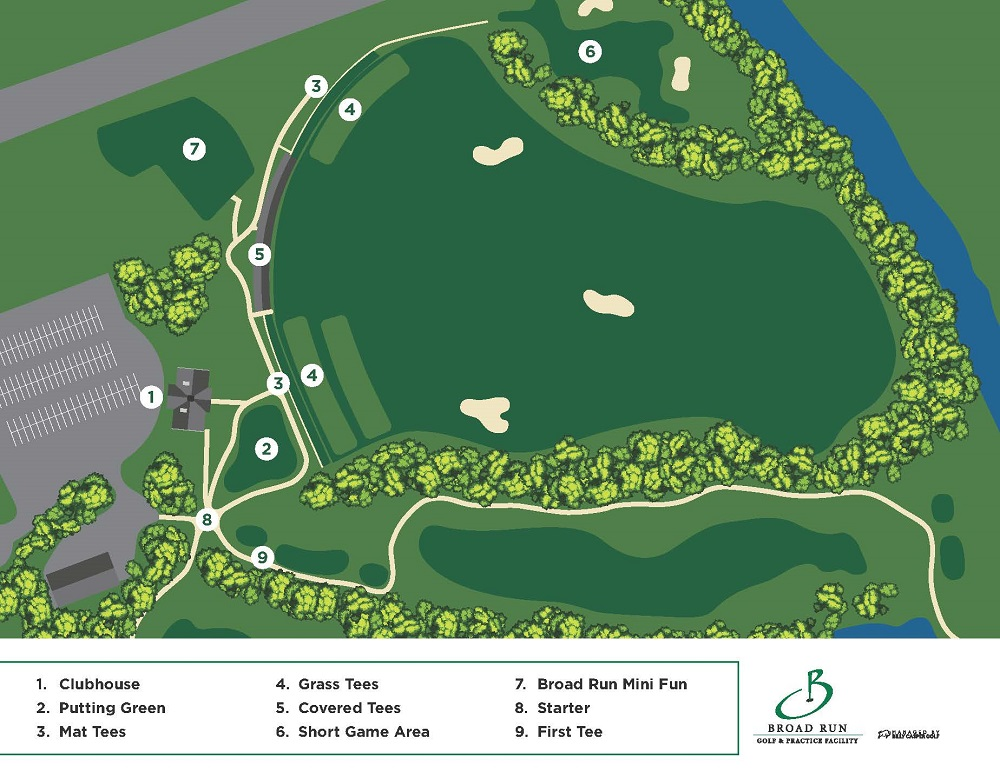 Club Map Layout of Broad Run Golf Practice Facility