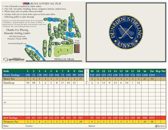Dunedin Golf Scorecard