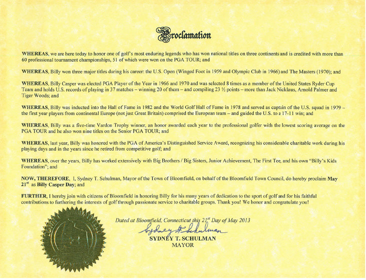 Billy Casper Day proclamation
