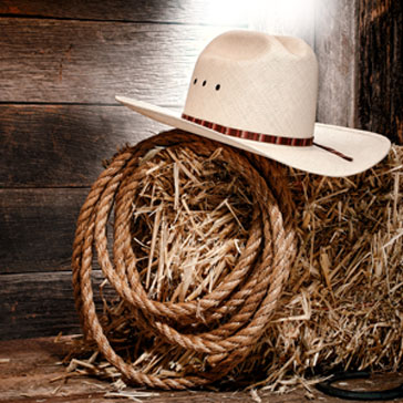 Western Event Photo - Cowboy Hat, Bail of Hay for event at golf course or club at Billy Casper Golf