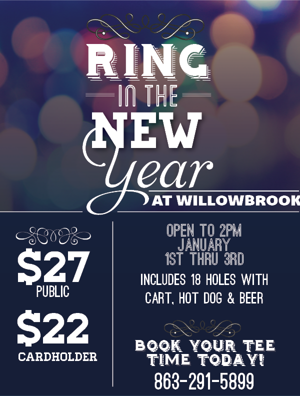 NEW YEARS DAY SPECIAL WILLOWBROOK GOLF COURSE WINTER HAVEN 33881