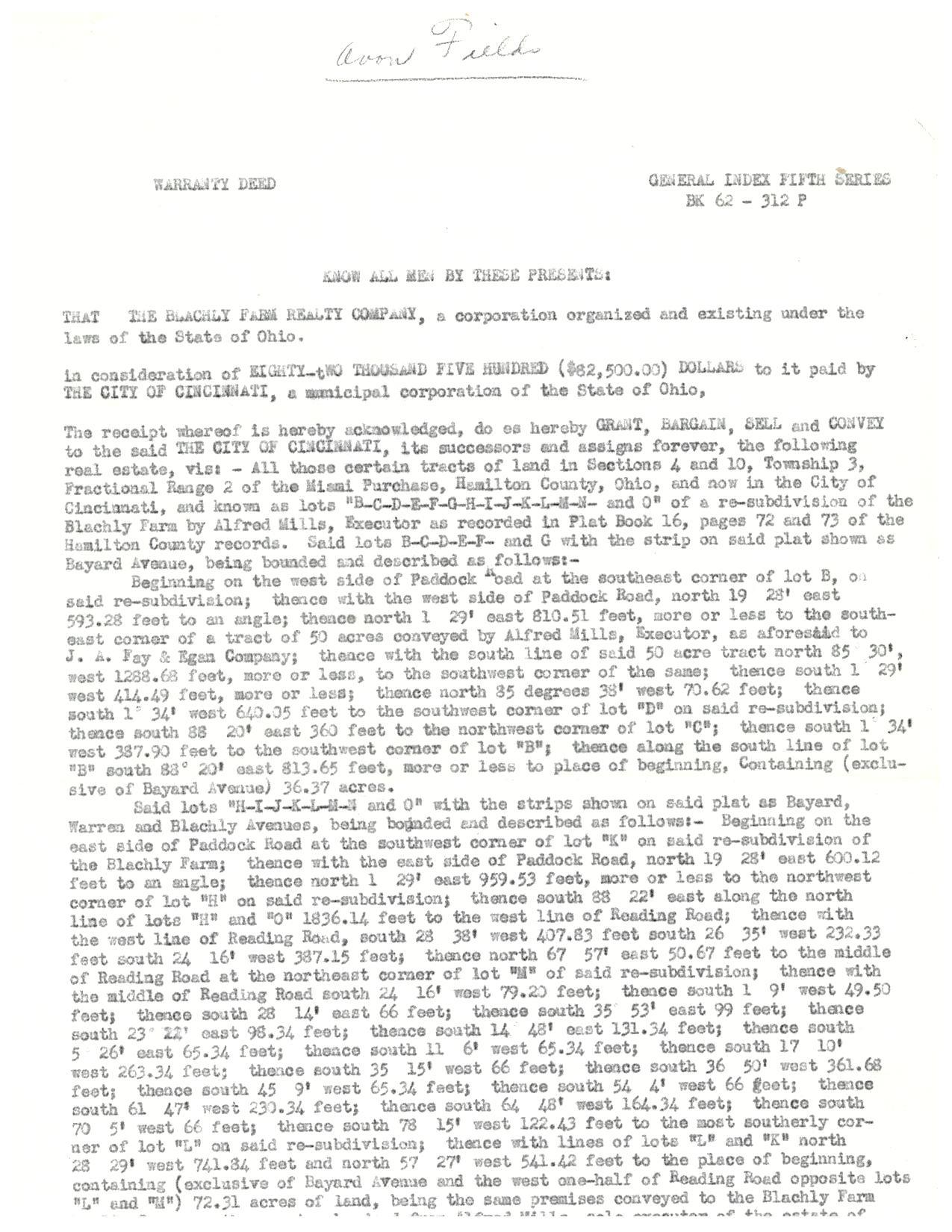Avon Field deed page 1