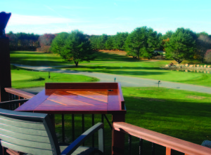 The Windham Club outside patio restaurant with golf course view