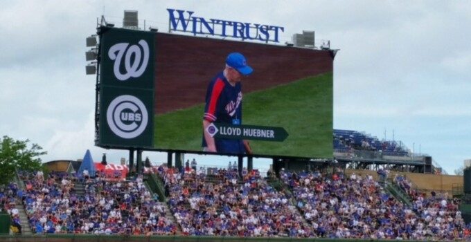 Lloyd Huebner, father of 1757 General Manager Gary Huebner, throws out first pitch at a clubs game