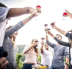 cheers toast wine group events fun guys girls men women