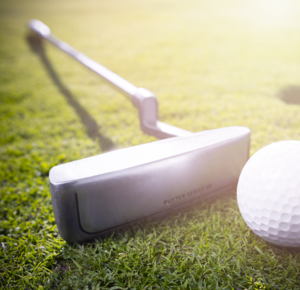 generic golf course, balls, clubs, putting, iron, hole