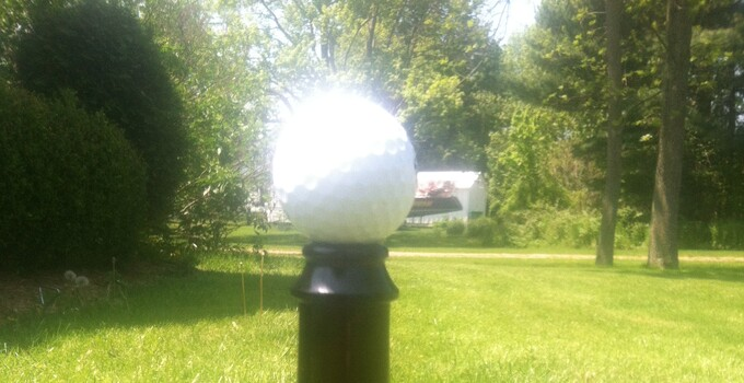 Glass bottle golf tee