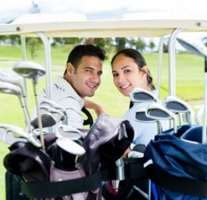 Man and Woman Golfing