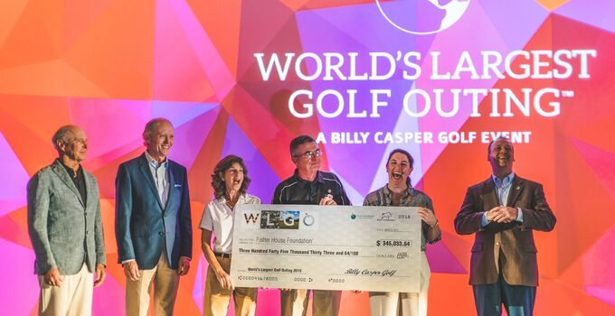 Billy Casper Golf's Peter Hill, Bob Morris, and Alex Elmore present WLGO check for $345,033 to Fisher House Foundation's Mary Considine and Gold Star Family Craig and Toni Gross.