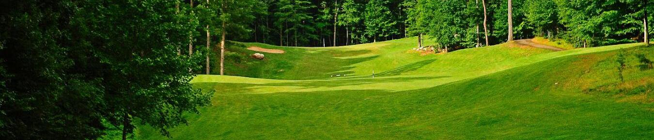 The fairway and putting green of hole number 3 at General's Ridge Golf Course in Manassas, VA