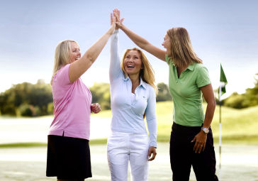 Women on Course having fun with friends.