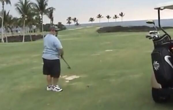 Golfer hits himself in the head