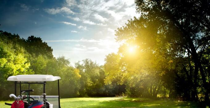 Golf Cart w/ Sun Rising