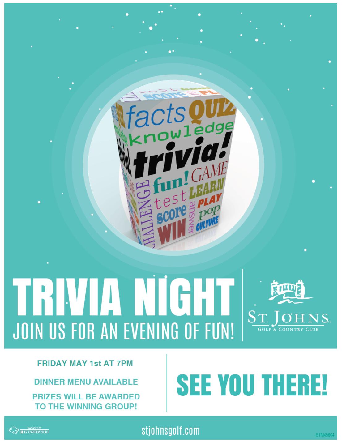 Trivia Night 5/1/15 St. Johns Golf & Country Club St. Augustine, FL