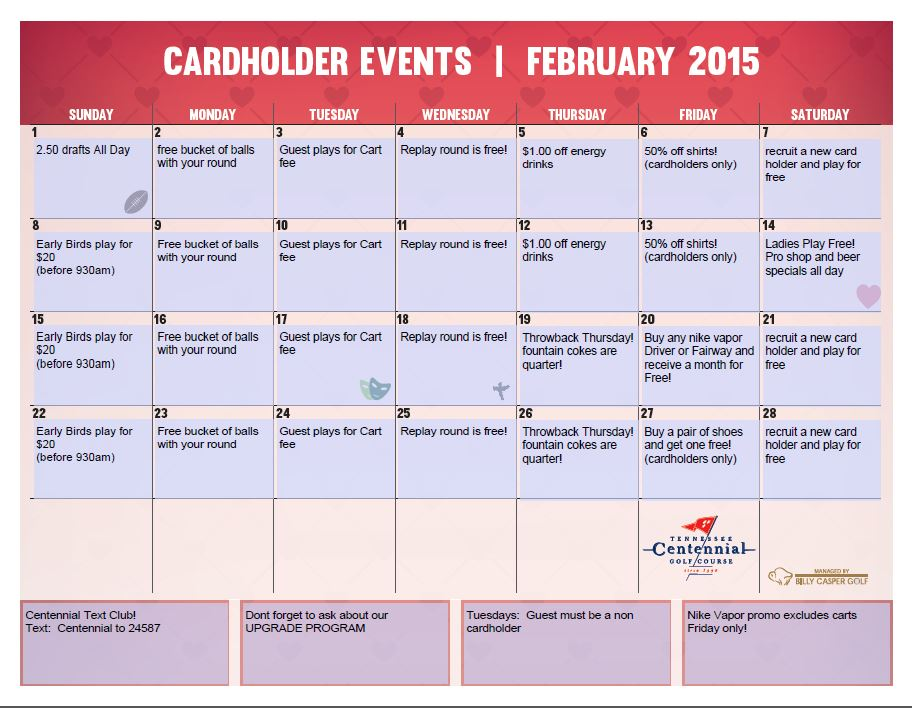 February Players Pass Calendar at Centennial